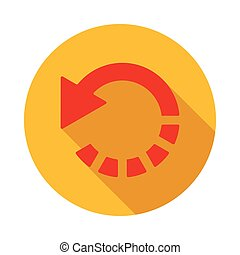 Refresh red arrow icon, flat style