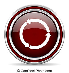 refresh red glossy web icon