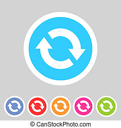 Refresh reload flat icon badge sign with shadow