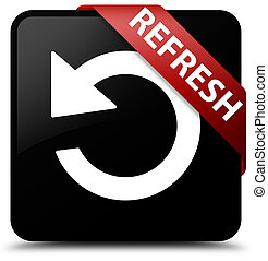 Refresh (rotate arrow icon) black square button red ribbon in corner
