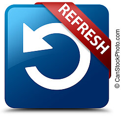 Refresh (rotate arrow icon) blue square button red ribbon in corner