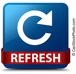 Refresh (rotate arrow icon) blue square button red ribbon in middle