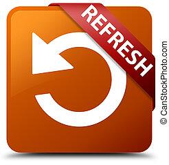 Refresh (rotate arrow icon) brown square button red ribbon in corner