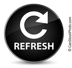 Refresh (rotate arrow icon) elegant black round button