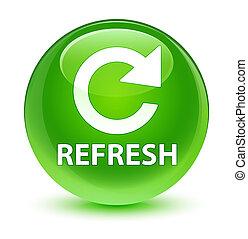 Refresh (rotate arrow icon) glassy green round button