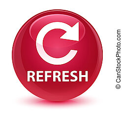 Refresh (rotate arrow icon) glassy pink round button