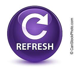 Refresh (rotate arrow icon) glassy purple round button