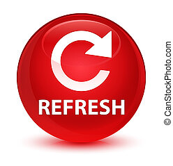 Refresh (rotate arrow icon) glassy red round button