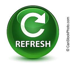 Refresh (rotate arrow icon) glassy soft green round button