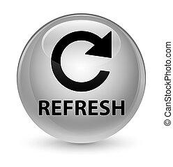 Refresh (rotate arrow icon) glassy white round button