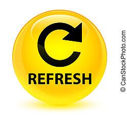 Refresh (rotate arrow icon) glassy yellow round button