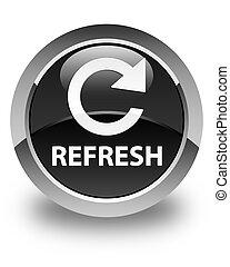 Refresh (rotate arrow icon) glossy black round button