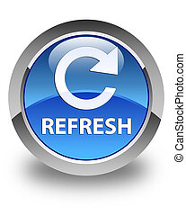 Refresh (rotate arrow icon) glossy blue round button