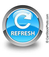 Refresh (rotate arrow icon) glossy cyan blue round button