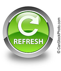 Refresh (rotate arrow icon) glossy green round button