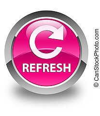 Refresh (rotate arrow icon) glossy pink round button