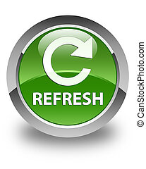 Refresh (rotate arrow icon) glossy soft green round button
