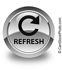 Refresh (rotate arrow icon) glossy white round button
