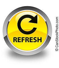 Refresh (rotate arrow icon) glossy yellow round button