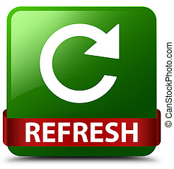 Refresh (rotate arrow icon) green square button red ribbon in middle
