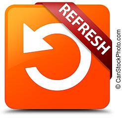Refresh (rotate arrow icon) orange square button red ribbon in corner