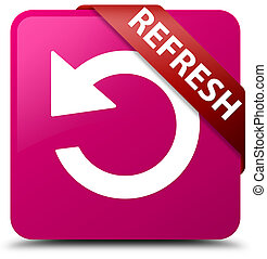 Refresh (rotate arrow icon) pink square button red ribbon in corner