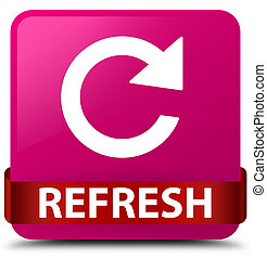 Refresh (rotate arrow icon) pink square button red ribbon in middle