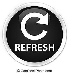 Refresh (rotate arrow icon) premium black round button