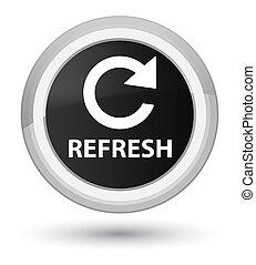 Refresh (rotate arrow icon) prime black round button