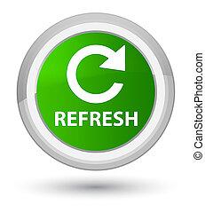 Refresh (rotate arrow icon) prime green round button
