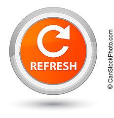 Refresh (rotate arrow icon) prime orange round button