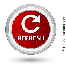 Refresh (rotate arrow icon) prime red round button
