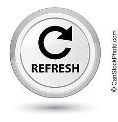 Refresh (rotate arrow icon) prime white round button