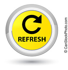 Refresh (rotate arrow icon) prime yellow round button