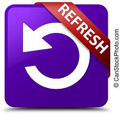 Refresh (rotate arrow icon) purple square button red ribbon in corner