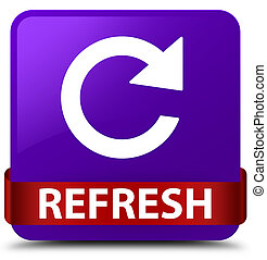 Refresh (rotate arrow icon) purple square button red ribbon in middle