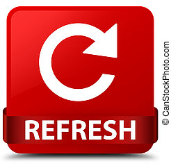 Refresh (rotate arrow icon) red square button red ribbon in middle
