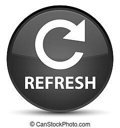Refresh (rotate arrow icon) special black round button