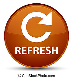 Refresh (rotate arrow icon) special brown round button
