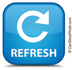 Refresh (rotate arrow icon) special cyan blue square button