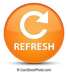 Refresh (rotate arrow icon) special orange round button