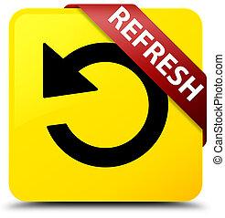Refresh (rotate arrow icon) yellow square button red ribbon in corner