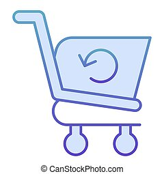 Refresh shopping cart flat icon. Reload shopping trolley vector illustration isolated on white. Market cart reload gradient style design, designed for web and app. Eps 10.