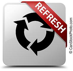 Refresh white square button red ribbon in corner
