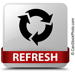 Refresh white square button red ribbon in middle