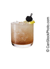 Refreshing Blackberry Gin Bramble on White with a Clipping...