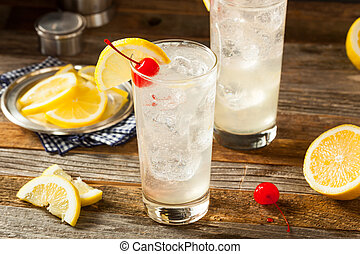 Refreshing Classic Tom Collins Cocktail with a Cherry and ...