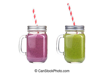 Refreshing cocktails in glass jars on a white background.