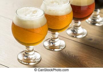 Refreshing Cold Beer Flight