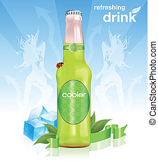 Natural refreshing drink with leaves, ice, banner and ladybird
